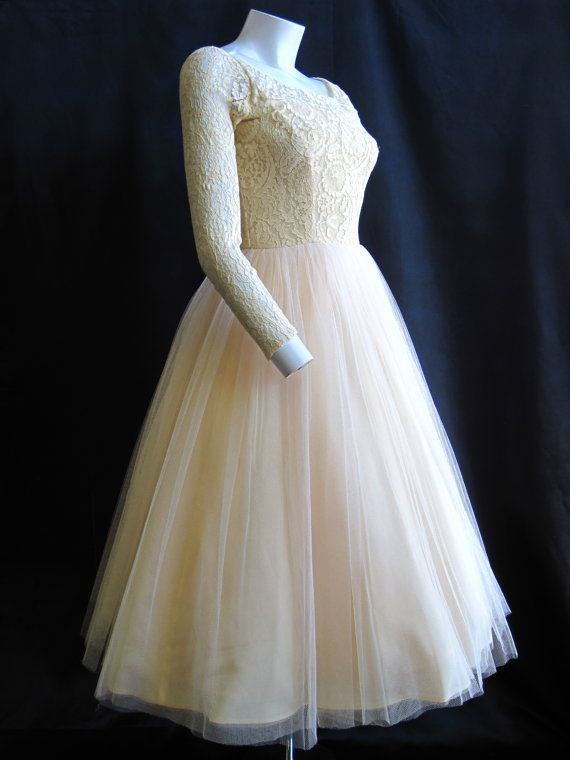 "1950's Harry Keiser Ivory Lace and Tulle Long Sleeved Wedding Dress  24"" Waist. $290.00, via Etsy."