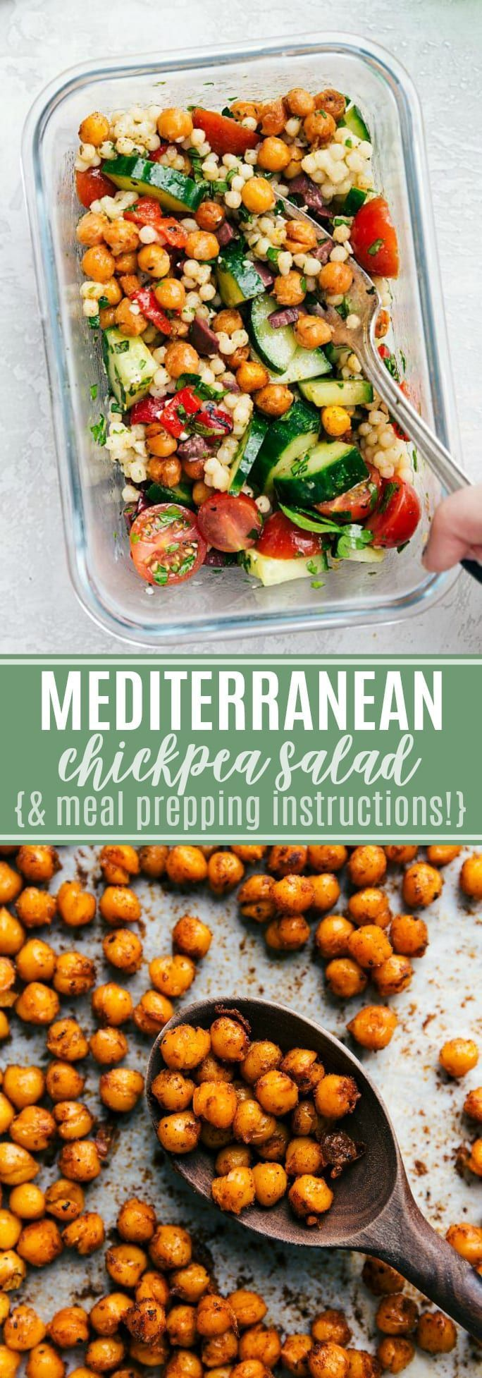 This chickpea salad is so flavorful, made with good-for-you ingredients, & easy to prepare! PLUS meal prepping instructions! via chelseasmessyapron.com #chickpea #salad #mediterranean #easy #quick #meal #prep #healthy #recipe #kidfriendly #couscous #fresh images