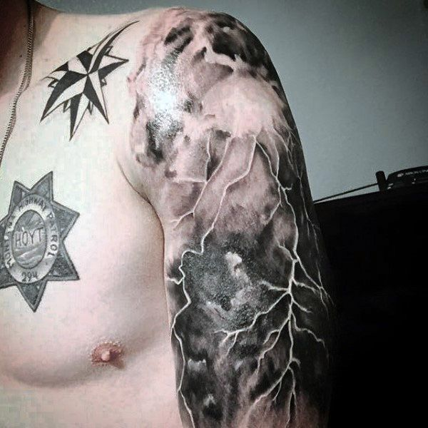 Half Sleve Cloud And Lightning Tattoo For Men | Hawks ...