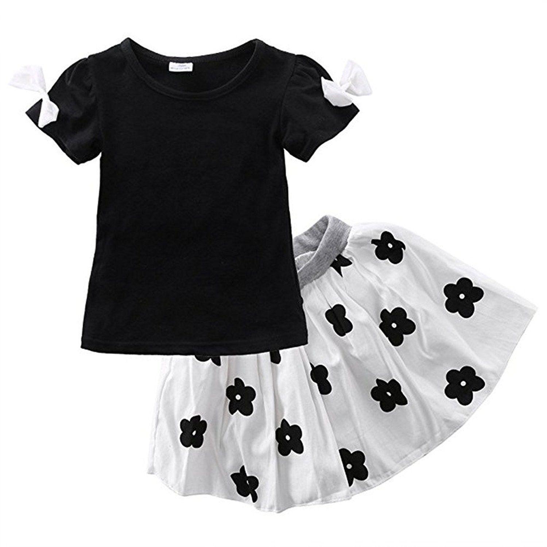 ae9f294bc94f Kids Girls Summer Cute Bowknot Short Sleeve T-shirt Flowers Tutu ...