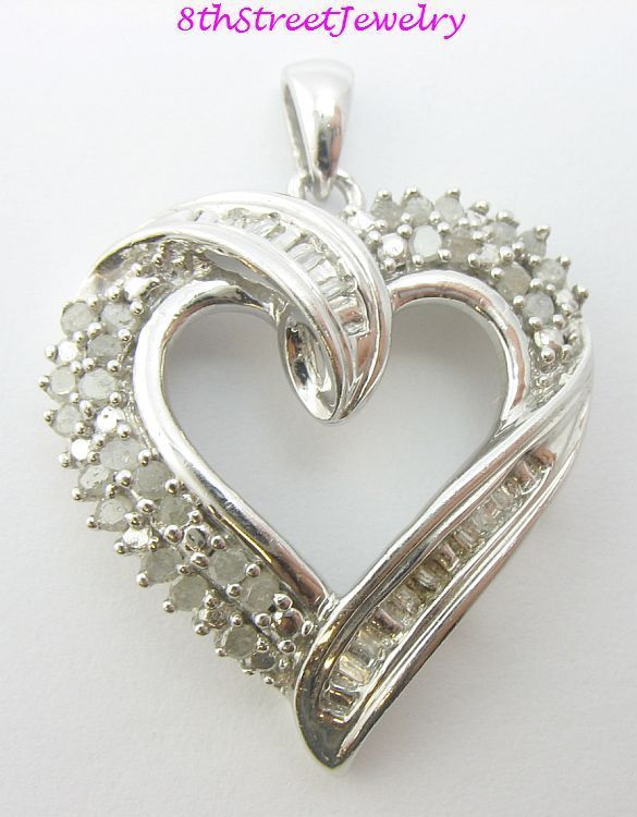 Estate sterling silver 925 open heart round baguette diamond heart estate sterling silver 925 open heart round baguette diamond heart pendant unbranded pendant mozeypictures Images