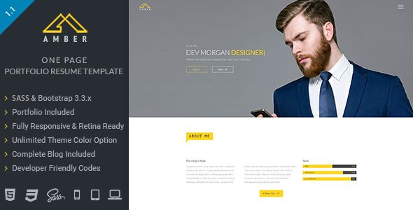 One Page Portfolio Resume Template