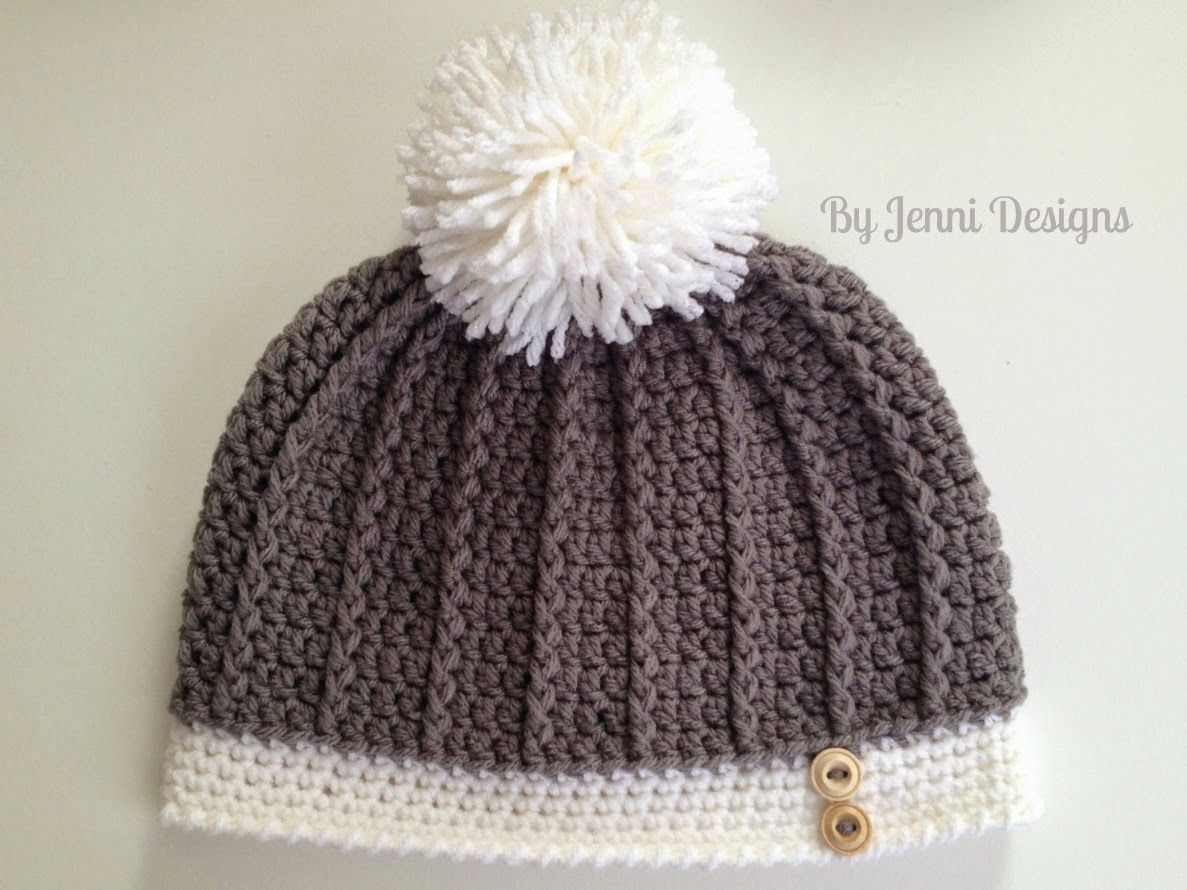 By Jenni Designs: Free Crochet Pattern: Women\'s Ribbed Hat | Crochet ...