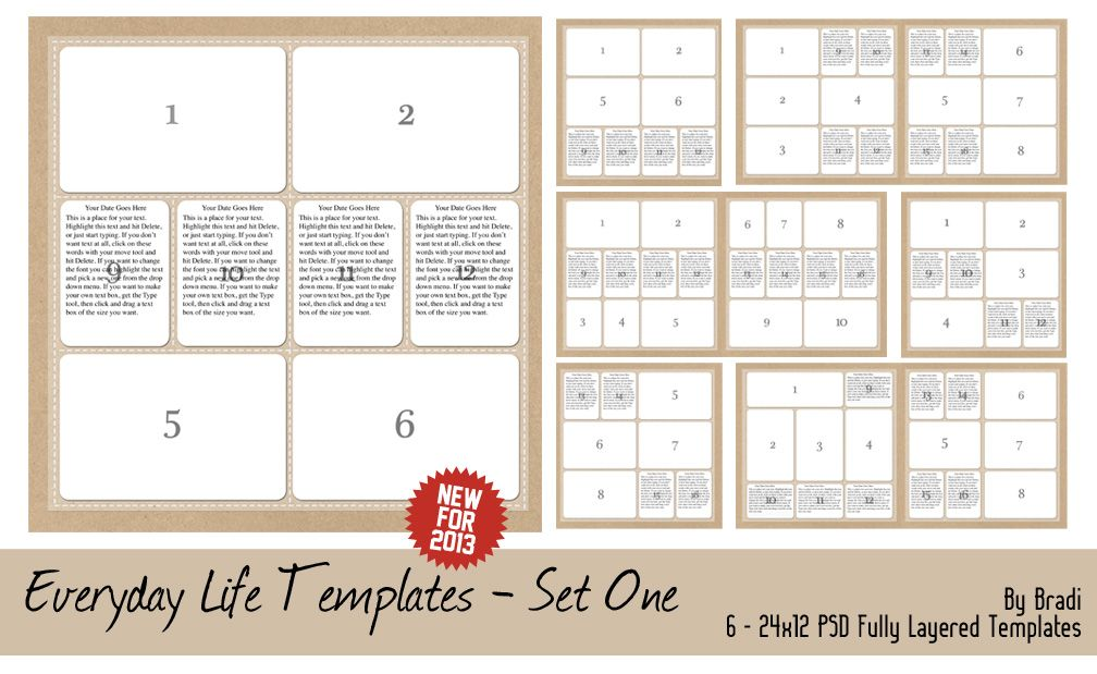 Signature Scrapbooks store - Everyday Life Templates 2013 Set 1