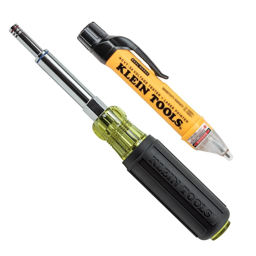 This 2-Piece Tool Set includes the Cat. No. NCVT5A Non-Contact Voltage Tester with Laser Pointer and the Cat. No. 32801 Heavy-Duty Multi-Nut Driver. The voltage tester can be set to detect voltage from 70-Volt to 1000-Volt AC (Mode 1) or from 12-Volt to 1000-Volt AC (Mode 2) and indicates the presence of voltage in cables, cords, circuit breakers, light fixtures, switches, outlets, and wires as well as AC voltage in doorbells, thermostats, low voltage lighting and irrigation systems. Includes bo