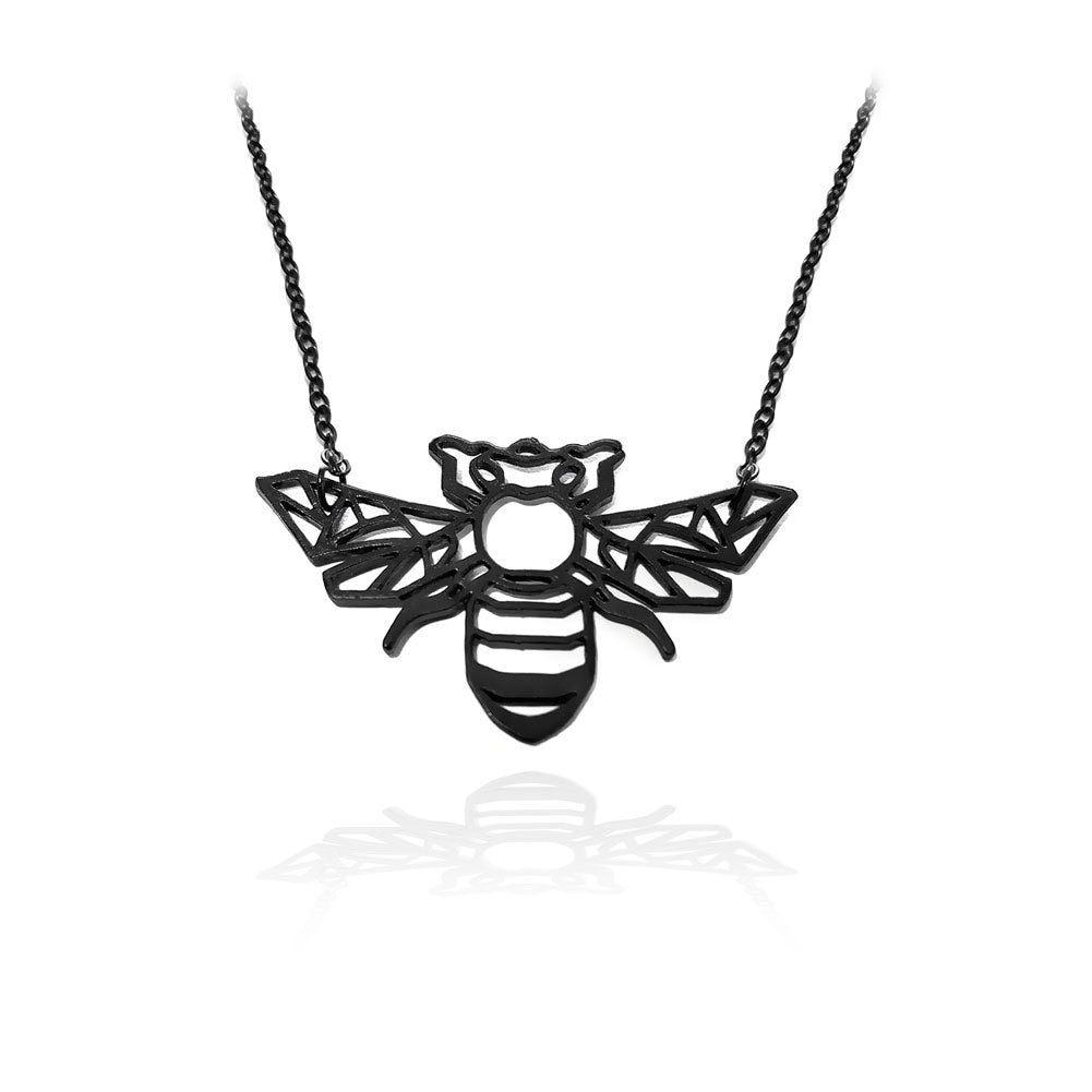 Joji Tattoo: Matte Black Bumble Bee Outline Necklace