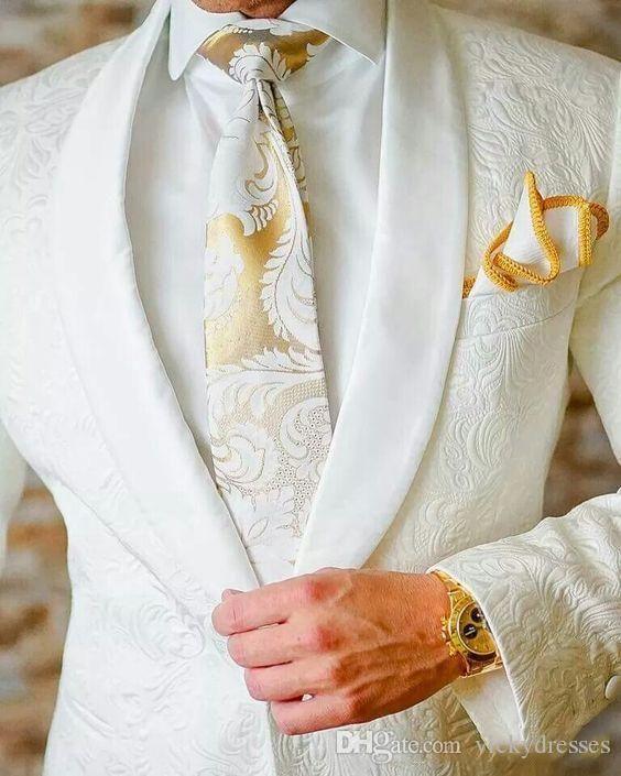 Cheap 2017 White Paisley Tuxedos Wool Herringbone Wedding Suits ...