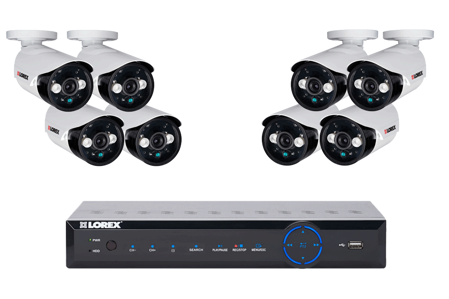 Security DVR system with 8 night security cameras with