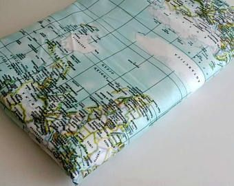 World Map Print Fabric.World Map Fabric Map Fabric World Fabric Blue Fabric Half Yard