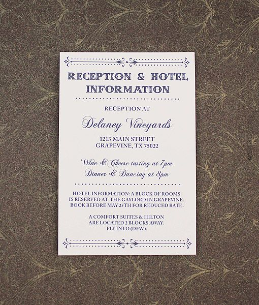 Wedding Invitations Old Fashioned: Old Fashioned Typography Enclosure Card