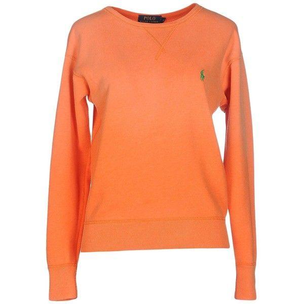 Polo Ralph Lauren Sweatshirt ($125) ❤ liked on Polyvore featuring tops, hoodies, sweatshirts, orange, orange top, long sleeve tops, orange sweatshirt, long sleeve cotton tops and red sweatshirt