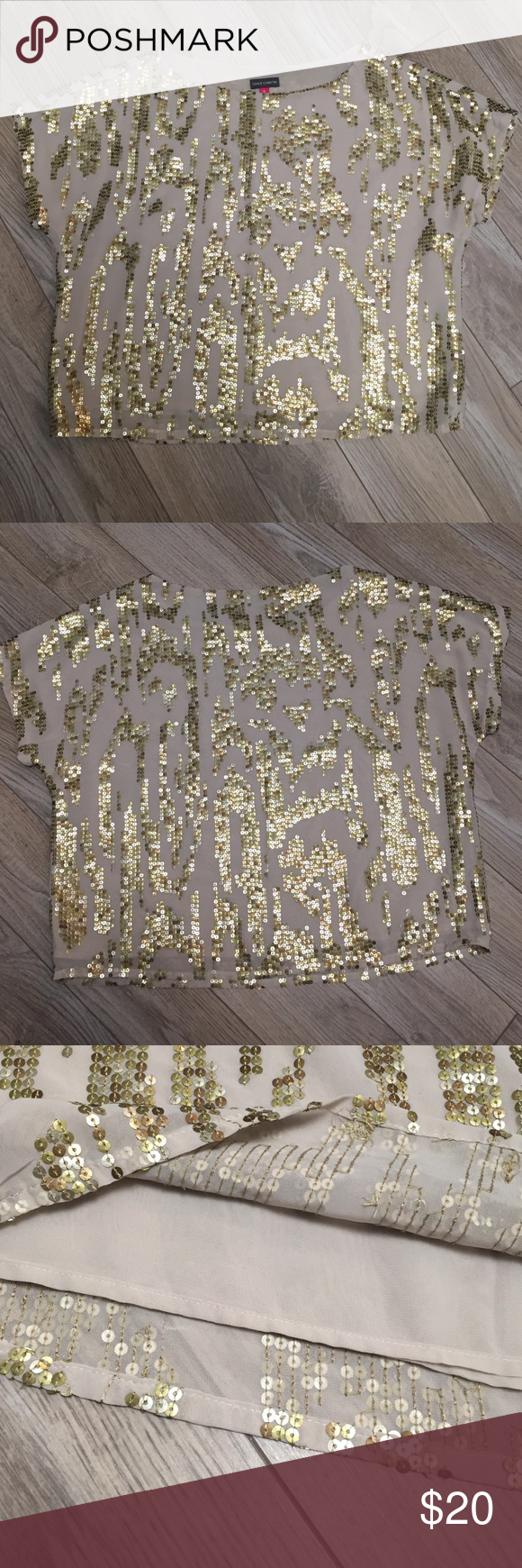 Vince Camuto Sequin Top This shirt is perfect for a night out! Gold, bronze and silver sequin design front and back. Cropped boxy cut with a slightly winged short sleeve. Fully lined! Vince Camuto Tops Blouses