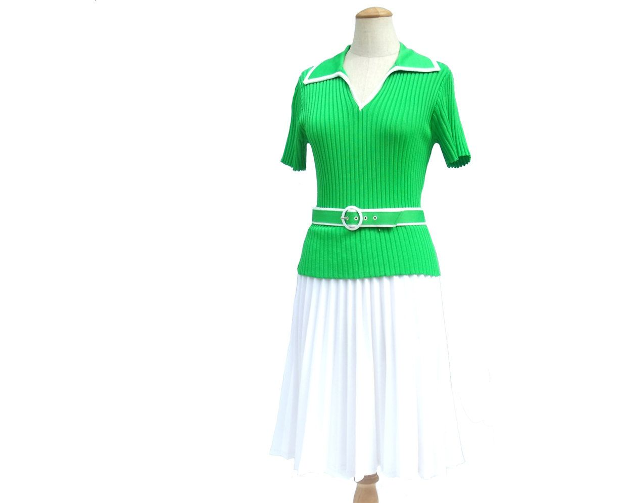 Green and white short dress  Vintage s Dress Green White Stretch Knit Pleat Belt Medium