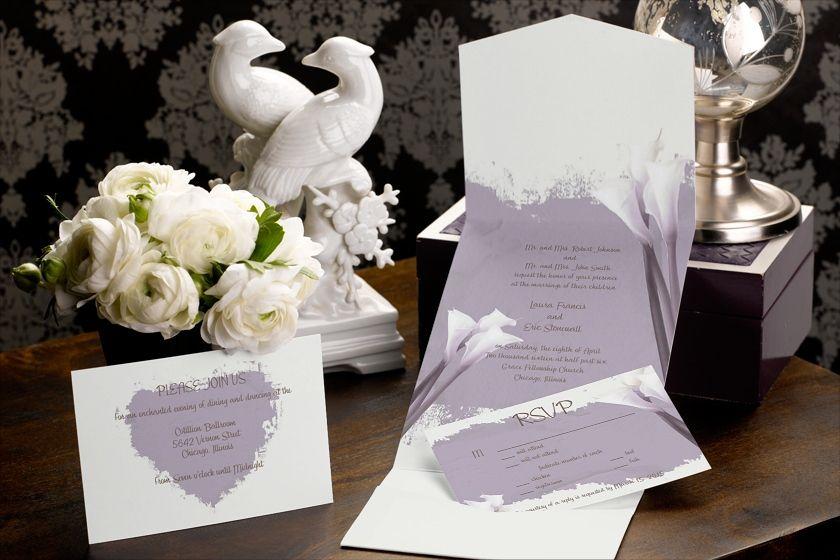 Antique Lilies - Pocket Wedding Invitation by MagnetStreet