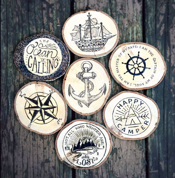 Affordable Home Decor Catalogs: Wood Coasters SET Nautical Woodburned Coaster By
