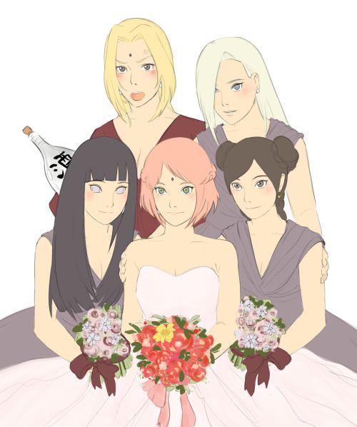 La boda de Sakura con sus damas de honor | Chicas naruto ...  La boda de Saku...