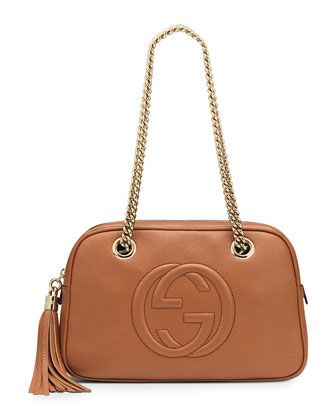 4f68942aac44 Gucci Soho Leather Double-Chain-Strap Shoulder Bag, Light Pink - Neiman  Marcus