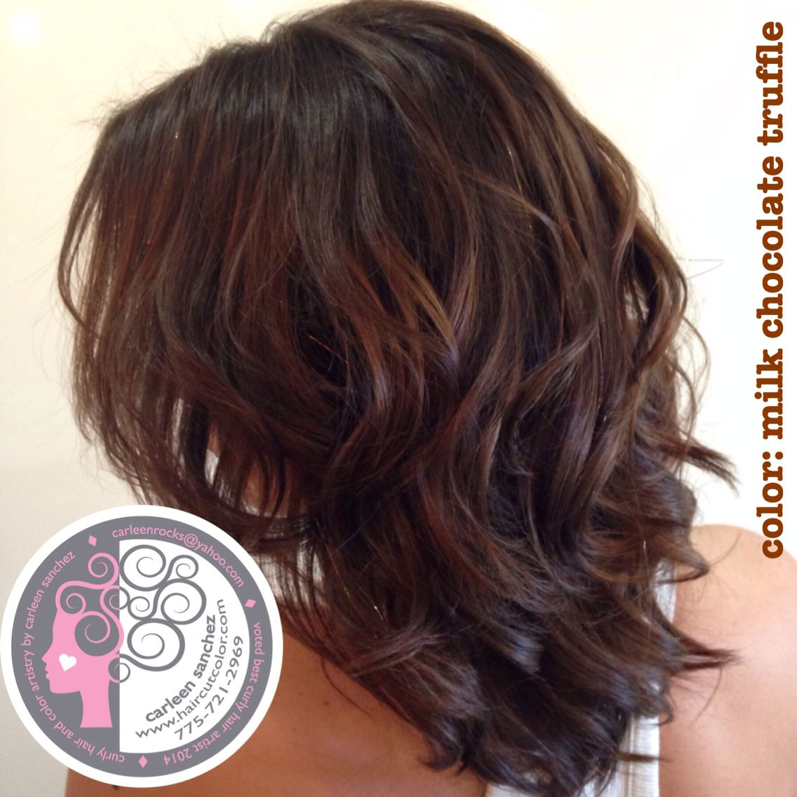 Chocolate Brunette Mid length haircut and color by Reno Color and ...