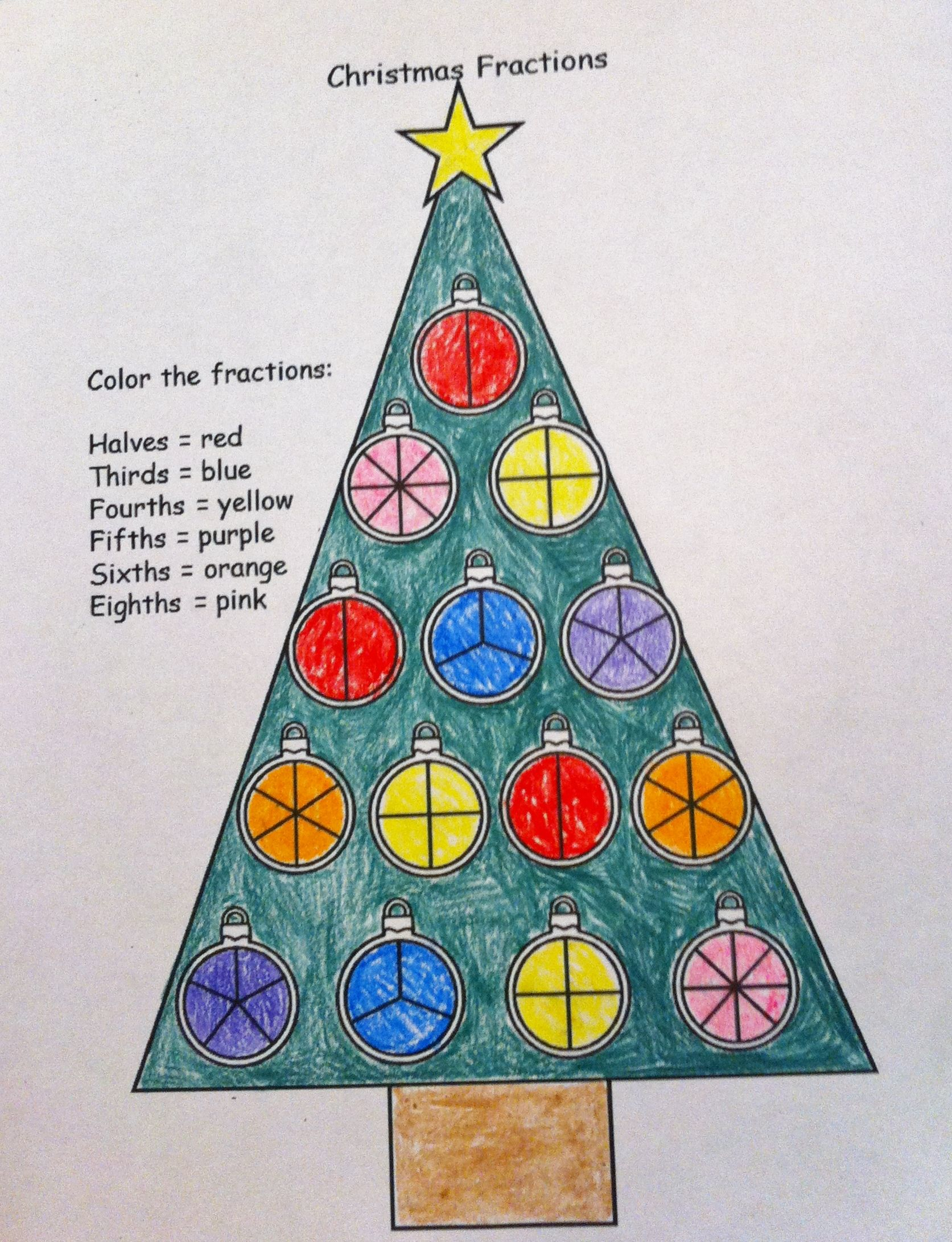 Christmas Fractions Coloring Worksheet