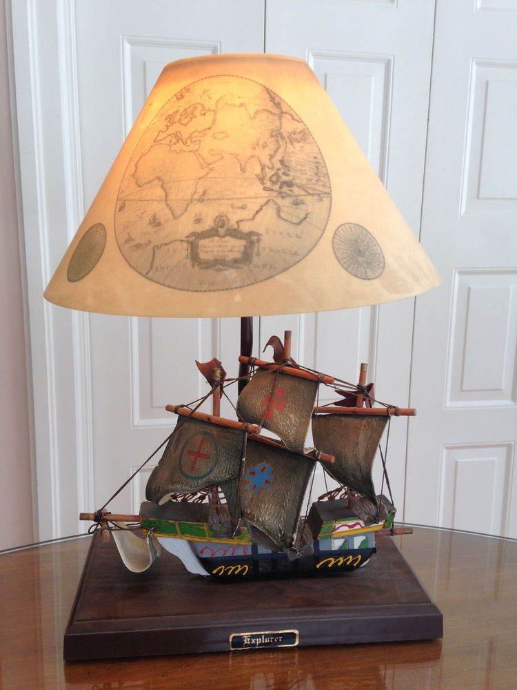 Vintage Gilbert Softlite Nautical Pirate Ship Explorer Lamp Light Original Shade Lamp Table Lamp Lamp Light