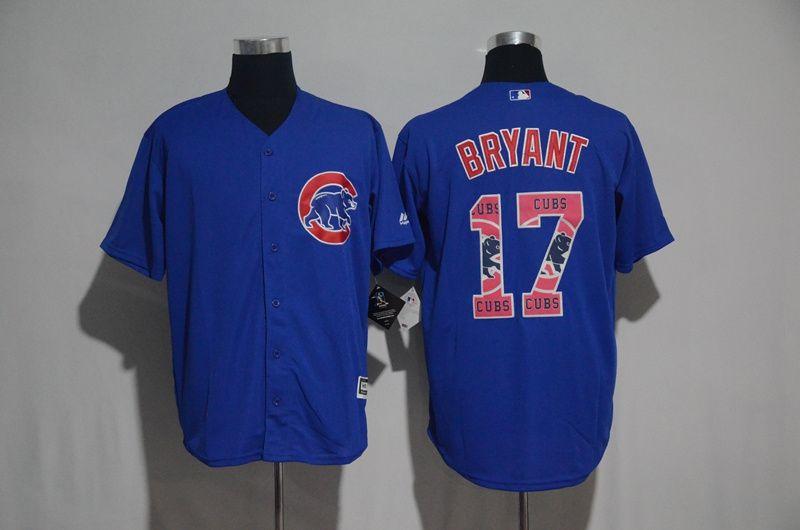 1adc6a64d9c Cubs 17 Kris Bryant Blue Team Logo Print Cool Base Jersey | Chicago ...