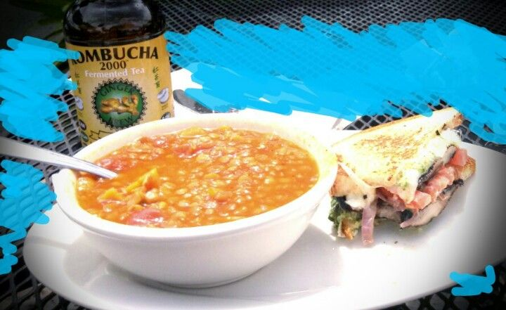 Veggie lentil soup, 1/2 portobello burger (w gluten free bread) and Ginger Brew Kombucha Tea. I love Lotus Cafe!
