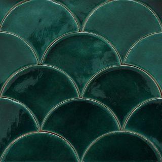 Small And Large Scallop Shaped Tiles Douglas Watson Studio Scallop Tiles Green Tile Tropical Tile