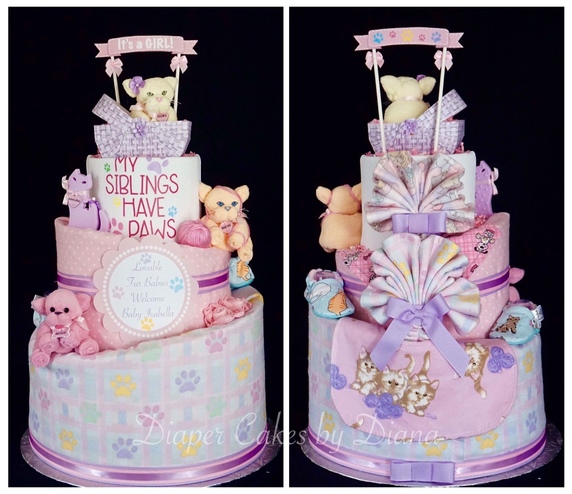 Puppy And Kitten Themed Diaper Cake Made For A New Baby Girl Www Facebook Com Diapercakesbydiana Baby Shower Gift Cake Baby Girl Diaper Cake Pamper Cake