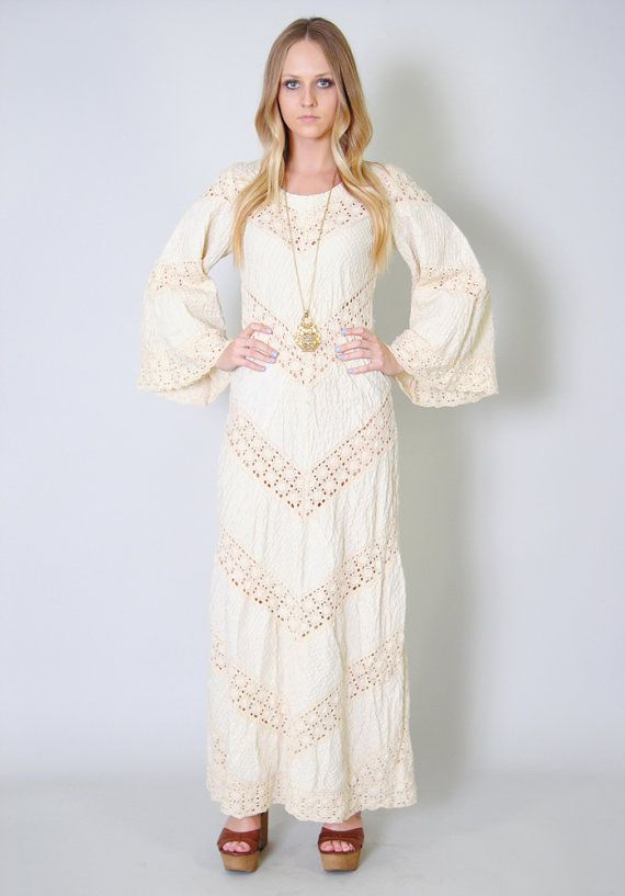 Vintage Wedding Dress 60s Dell Originals Bell Sleeve Crochet Hippie ...