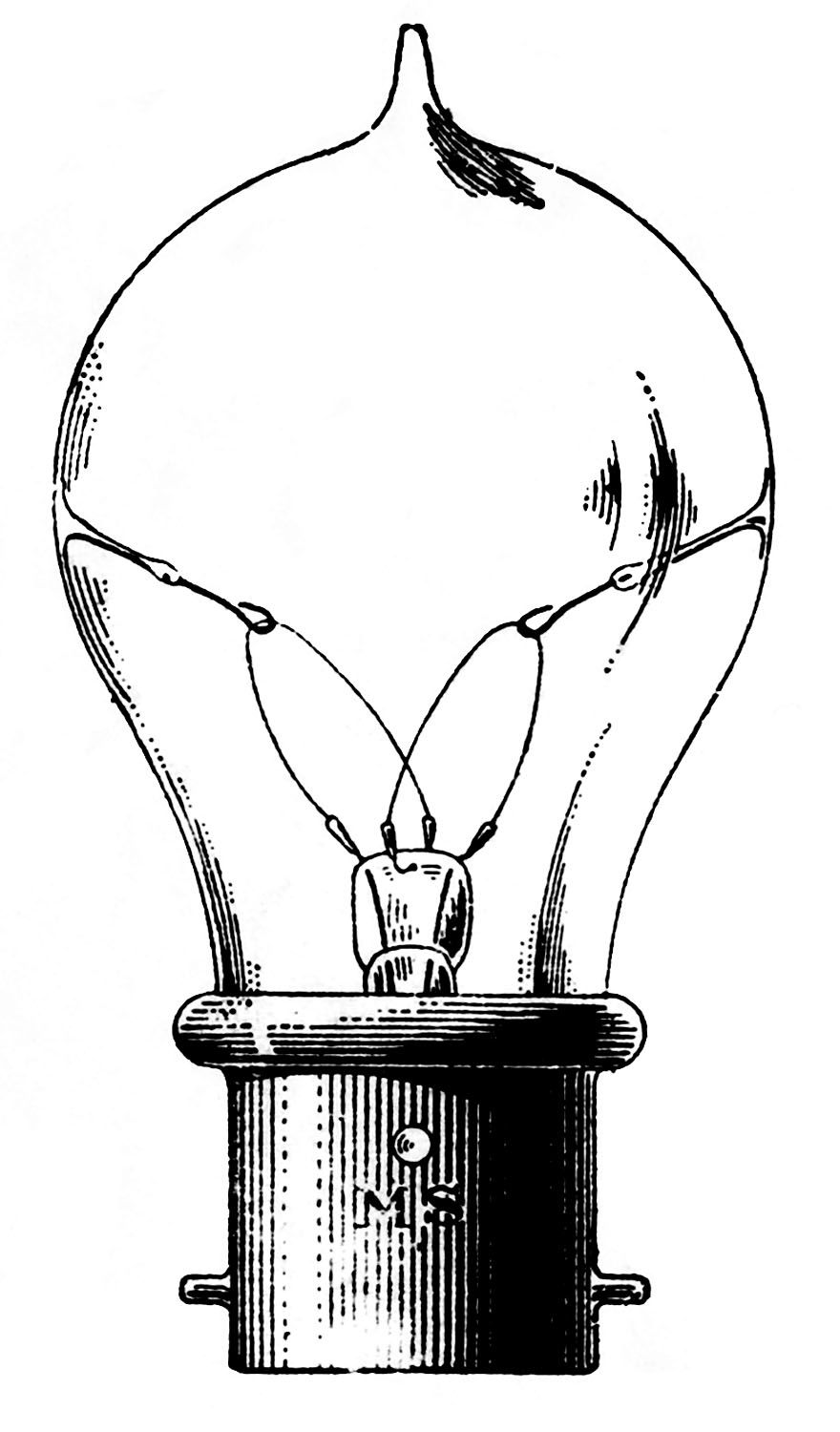 Vintage clip art old fashioned light bulb graphics for Graphics fairy