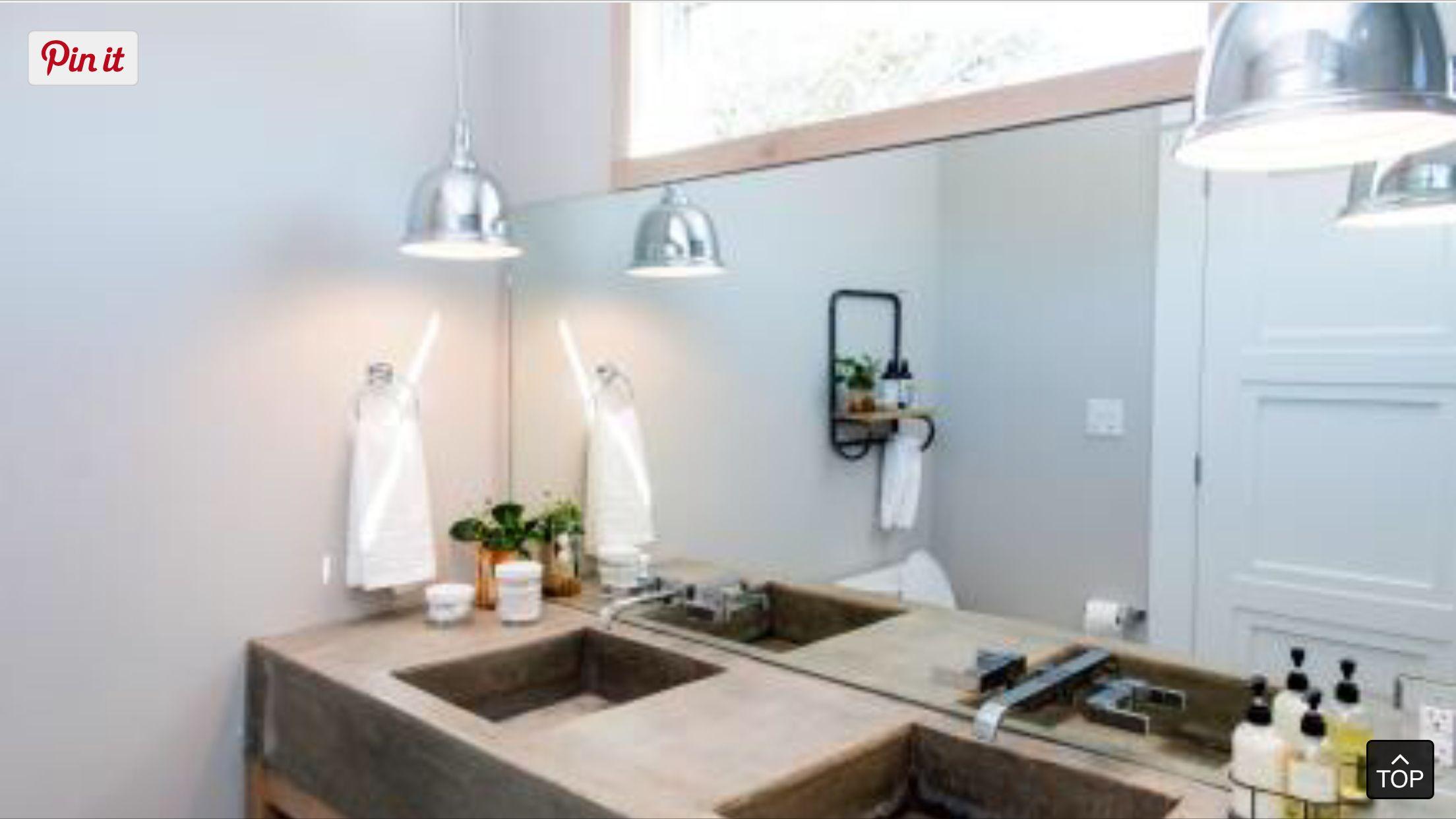 Fixer upper shotgun tiny house formed concrete sinks master bathroom ...