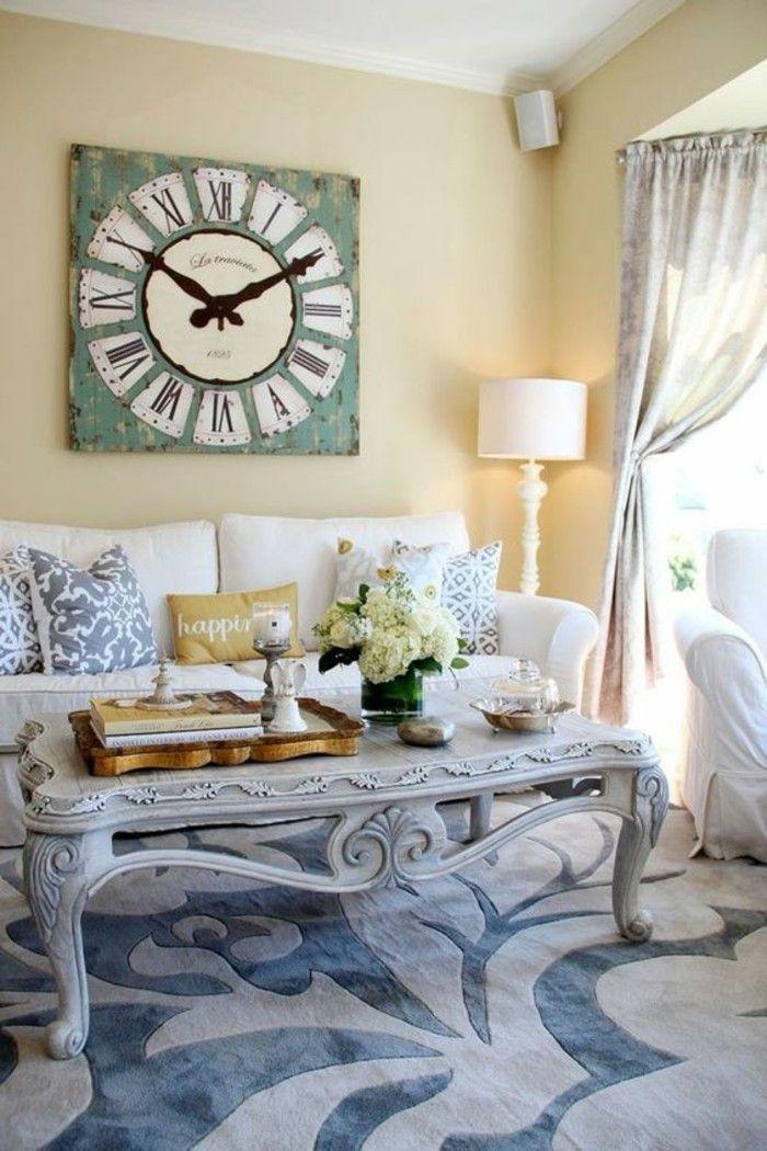 dekoideen vintage wanduhr wohnzimmer hellgelbe wändfarbe - schöne wanduhren wohnzimmer