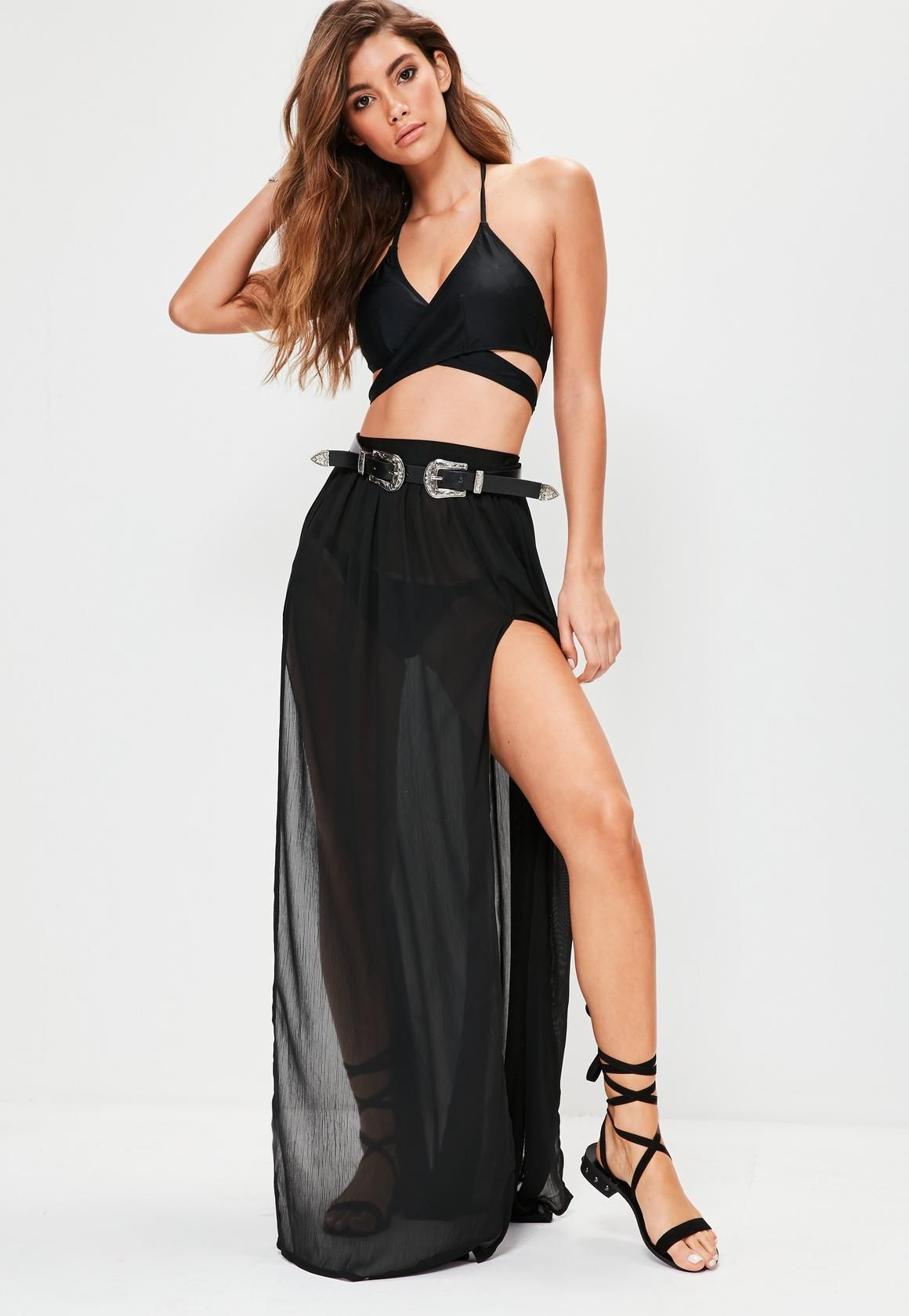 4edf504d162a2 Black Chiffon Double Split Beach Maxi Skirt - Missguided | SHEER ...