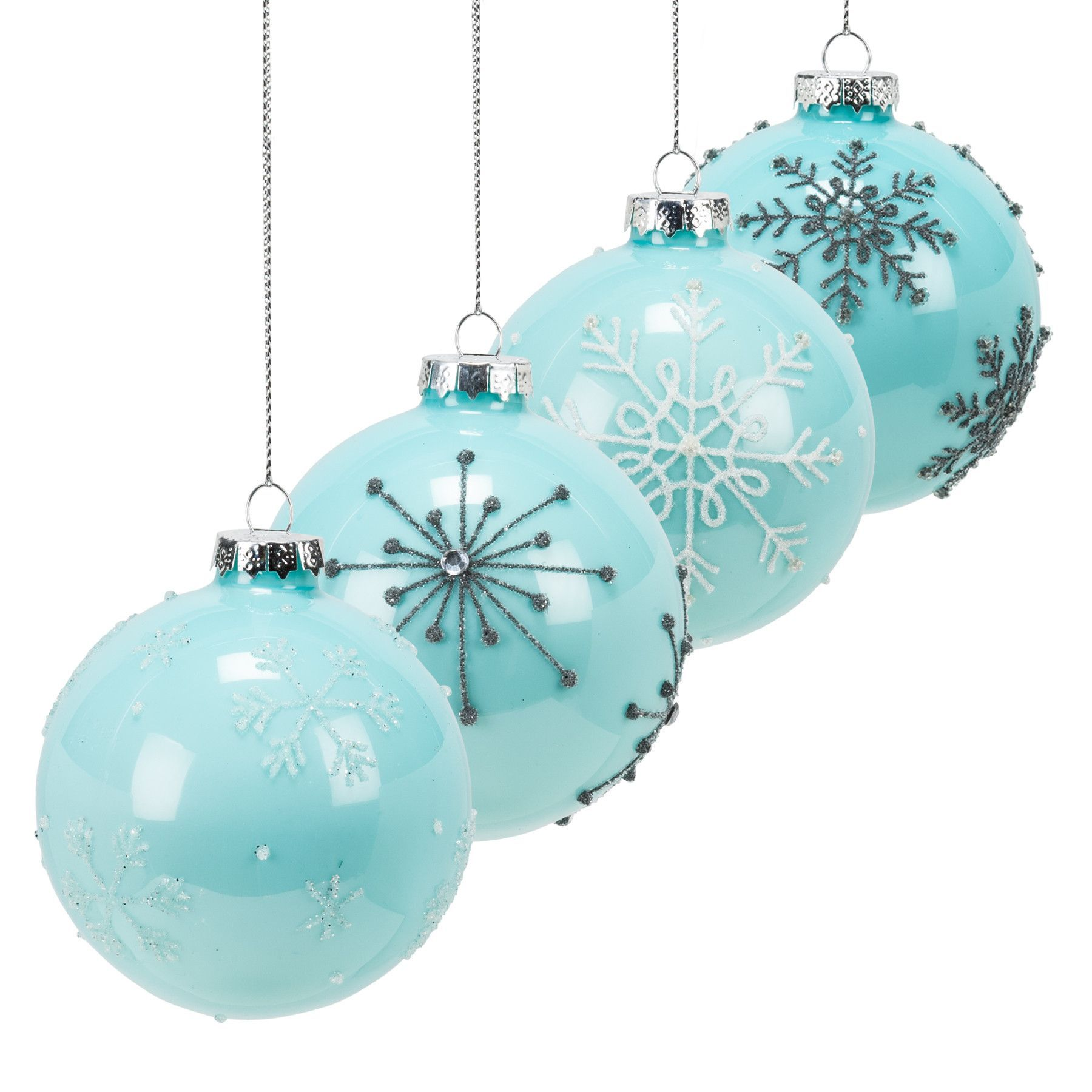 Set Of 4 Assorted Tiffany Blue Glass Snowflake Ball Ornaments Painted Christmas Ornaments Blue Christmas Glass Christmas Ornaments