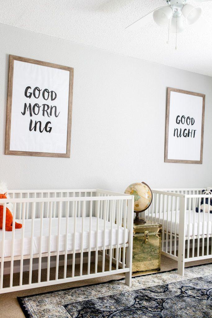 Walt and Whitney\'s Neutral Twin Nursery | Pinterest | Twin nurseries ...
