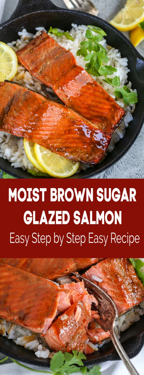 Brown Sugar Glazed Salmon can be one of the easiest, quickest meals that you make. In just under 20 minutes, you can serve yourself a fancy dinner right at home. #salmon #bakedsalmon #quickrrecipe #dinner #glazedsalmon #sugaredsalmon