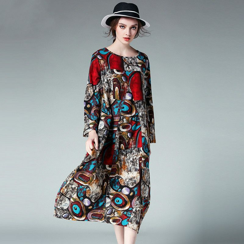 JIANRUYI Style Oversize Printed Long Dress Women Plus Size Midi Dresses xl to 4xl