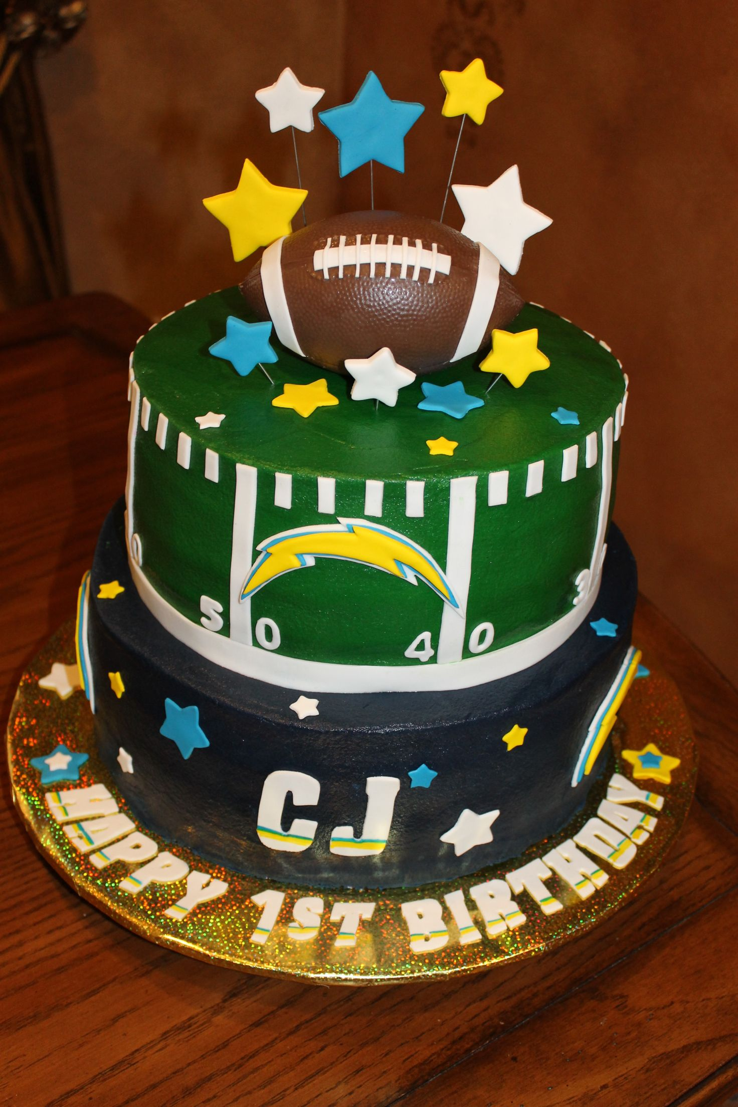 First Birthday Football Theme Cake San Diego Chargers Colors