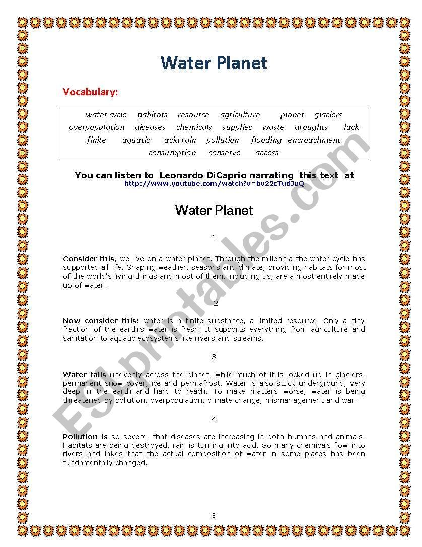 Save Water Lesson Plan Worksheet Water Lessons Reading Comprehension Texts Vocabulary Skills [ 1086 x 838 Pixel ]