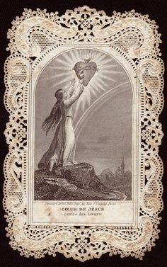 Antique French Lace Holy Card ... Sacred Heart Of Jesus