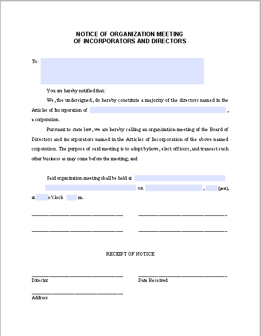 Incorporators And Directors Meeting Notice Free Fillable Pdf Forms Business Analysis Meeting Director