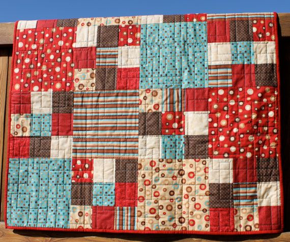 Bold Red Blue Amp Brown Baby Quilt Quilt Patterns Quilts