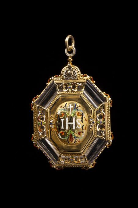 Exceptional octagonal pendant in gold rock crystal blue exceptional octagonal pendant in gold rock crystal blue translucent enamels green red aloadofball Images