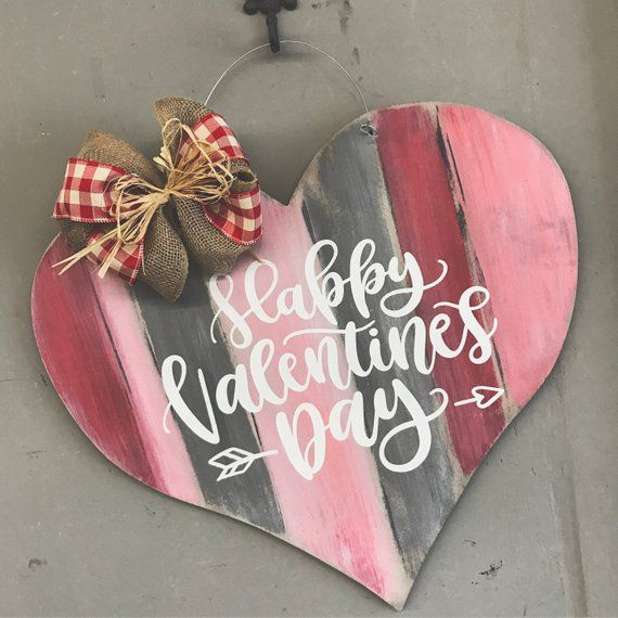 Valentine's Day Door Hanger - Rustic Valentine's Day Decor Heart Door Hanger - Heart Shaped Door Sig
