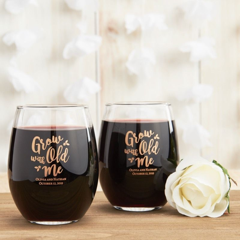 Personalized 15 Oz Stemless Wine Glass Wine Glass Favors Bridal Shower Favors Diy Bridal Shower Rustic