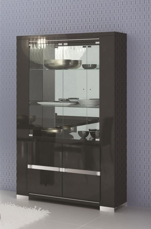 Armonia Black Display Cabinet in Black High Gloss With Opt. LED ...