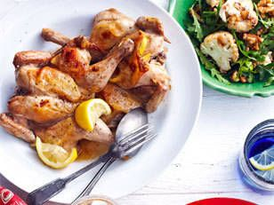 Roast Lemon Spatchcock with Cauliflower and Walnuts - Spatchcock is a great way to get some lean protein in your diet.