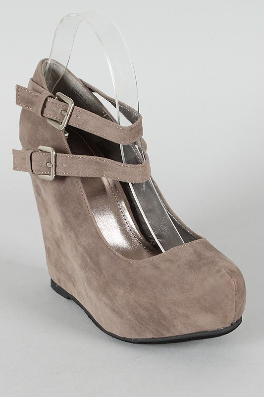 Bamboo Debrah-06 Ankle Strap Round Toe Wedge $30.80
