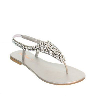 615500814eef88 Womens Flat Diamante Silver Party Wedding Sandals SIZE 5  Amazon.co.uk   Shoes   Accessories