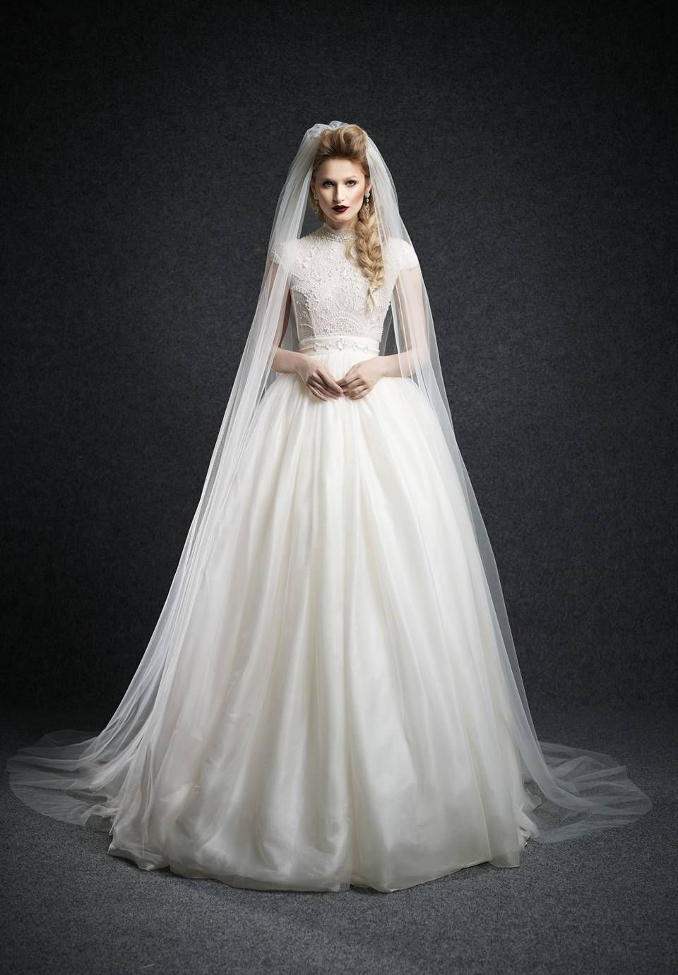 Wishesbridal High Quality High Neck Tulle Long Sleeve Ball